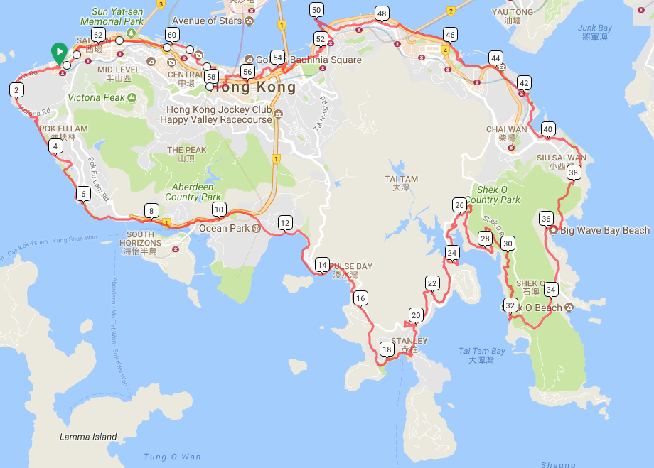Route for WSingle-Day-Walk-around-the-HK-Island 2016