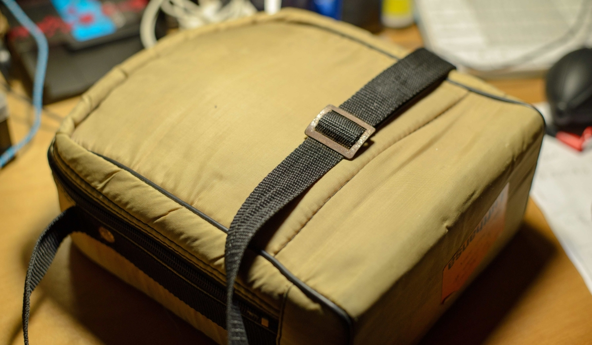 An old camera bag