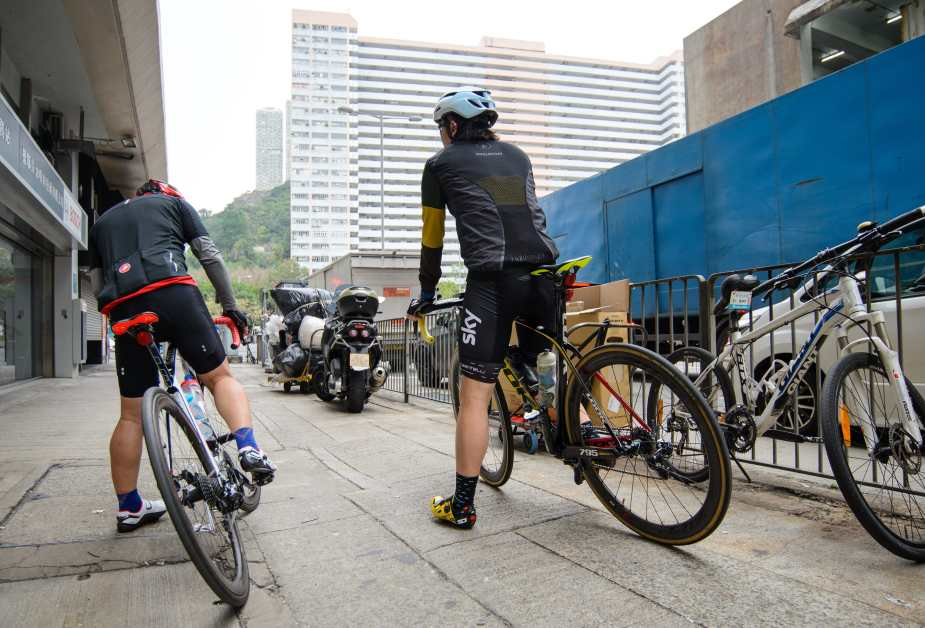 My cycling buddies readied for their regular ride