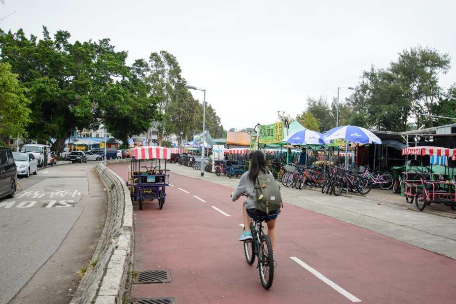 Tai Mei Tuk - Lot of Bike rental shops