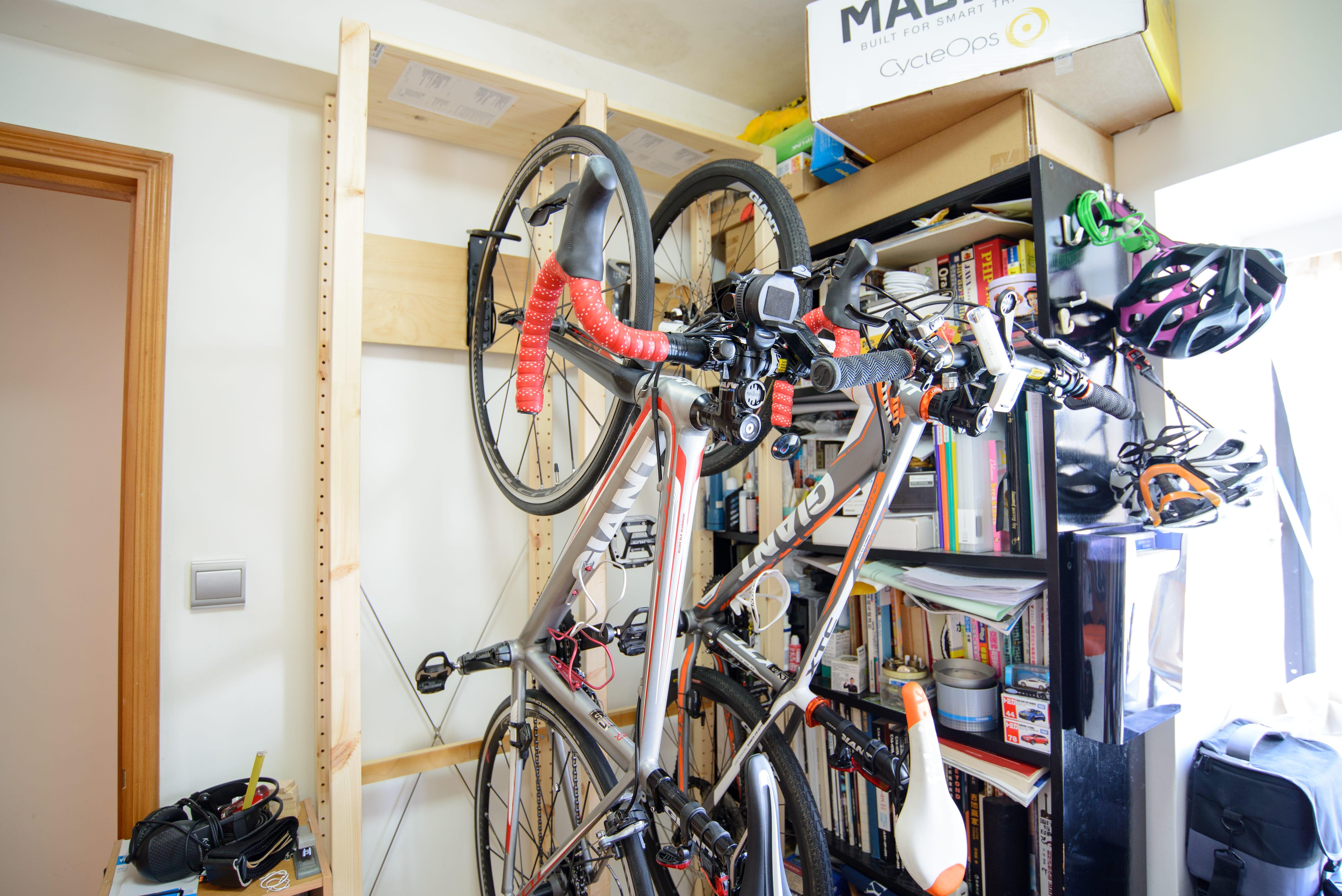 DIY Bike Rack with both Road Bike & MTB mounted