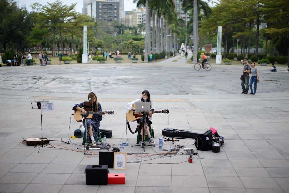 Busking outside the Central Station, MRT, Kaohsiung