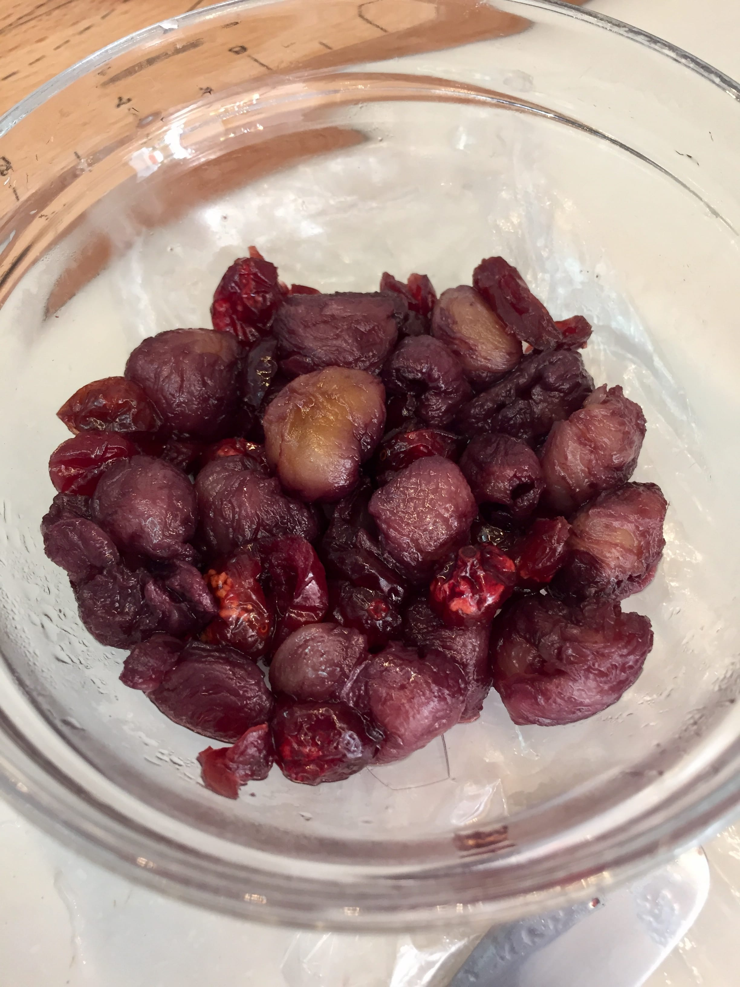 Longan and cranberry soaked in red wine for two days
