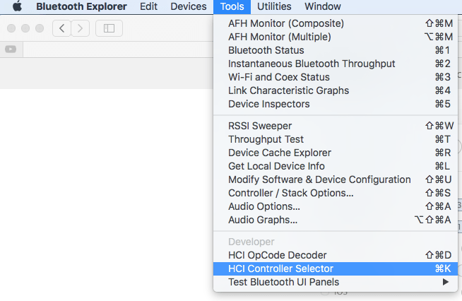 Change the BLE HCI Controller via Bluetooth Explorer