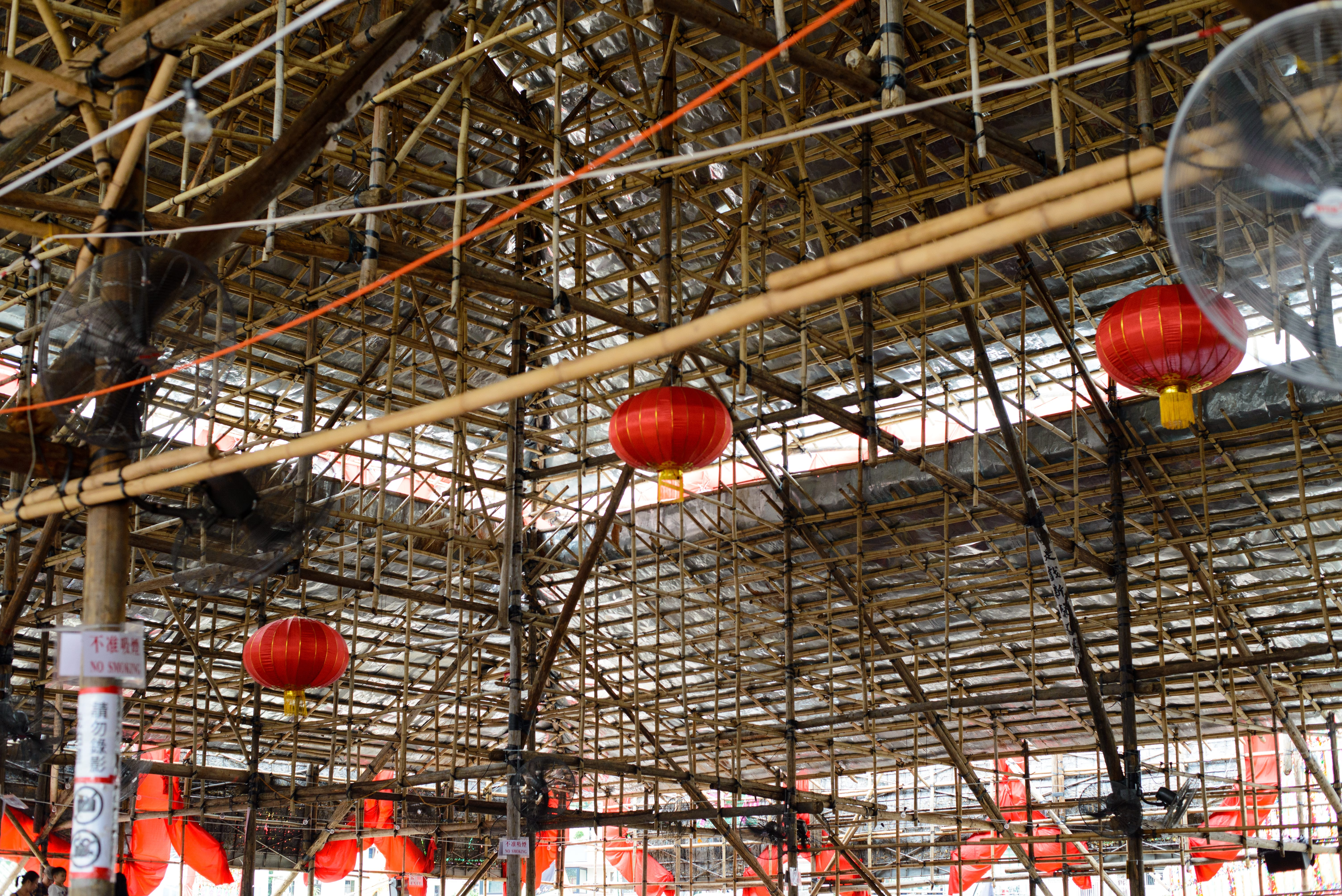 Traditional Red Lantern hanged on the top of the opera house