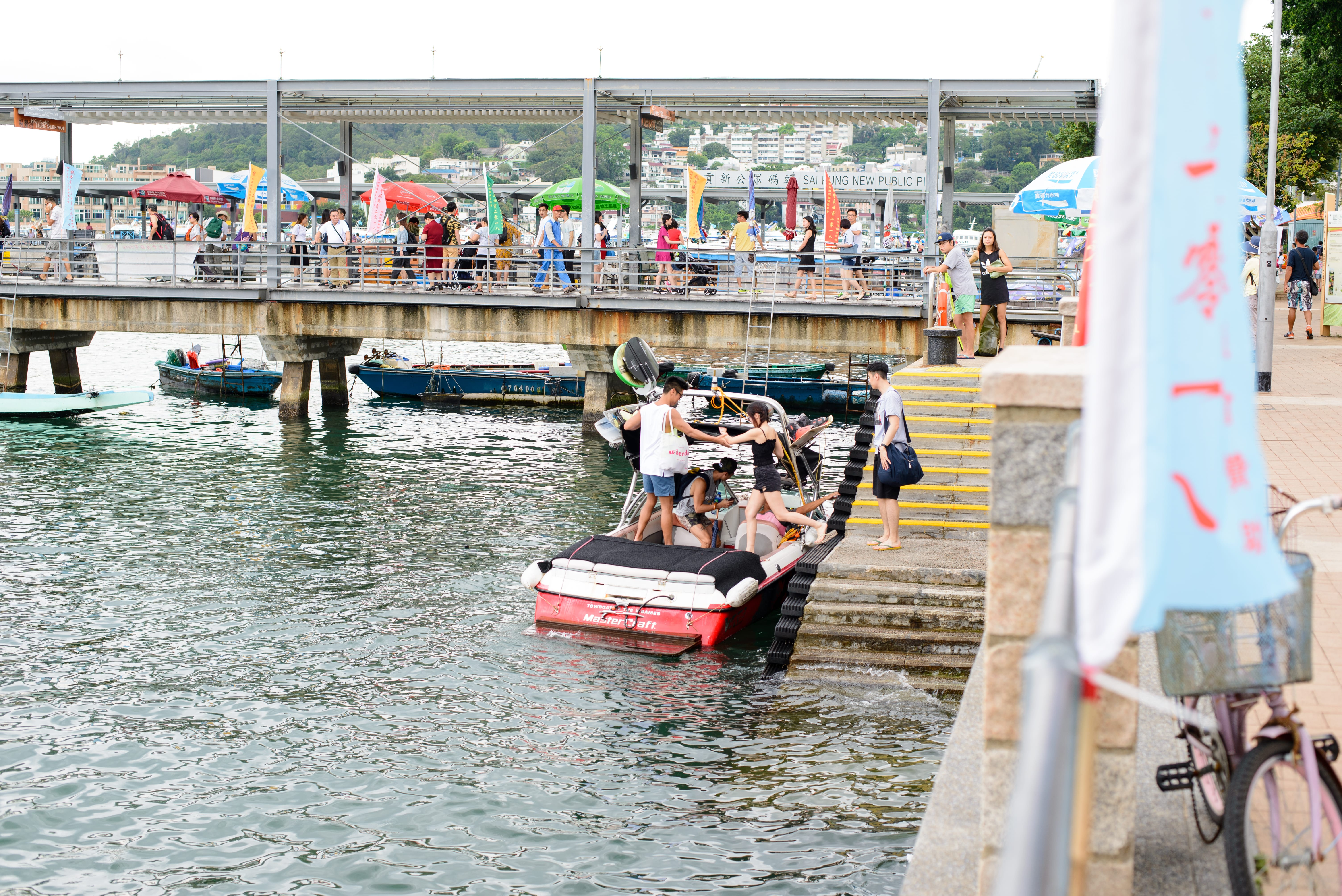 Visitors going out for water skiing