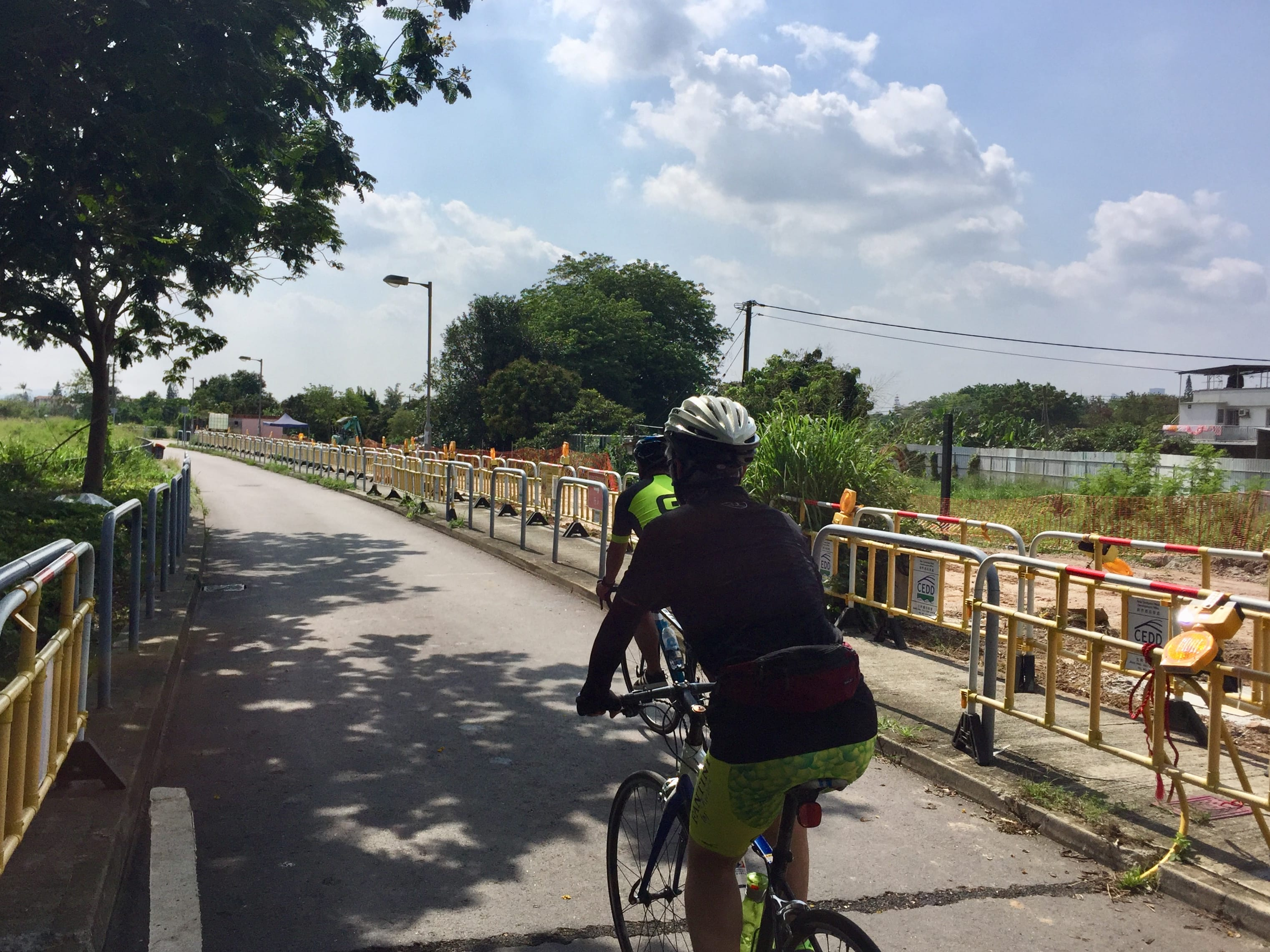 Riding along Yau Pok Road to today's destination