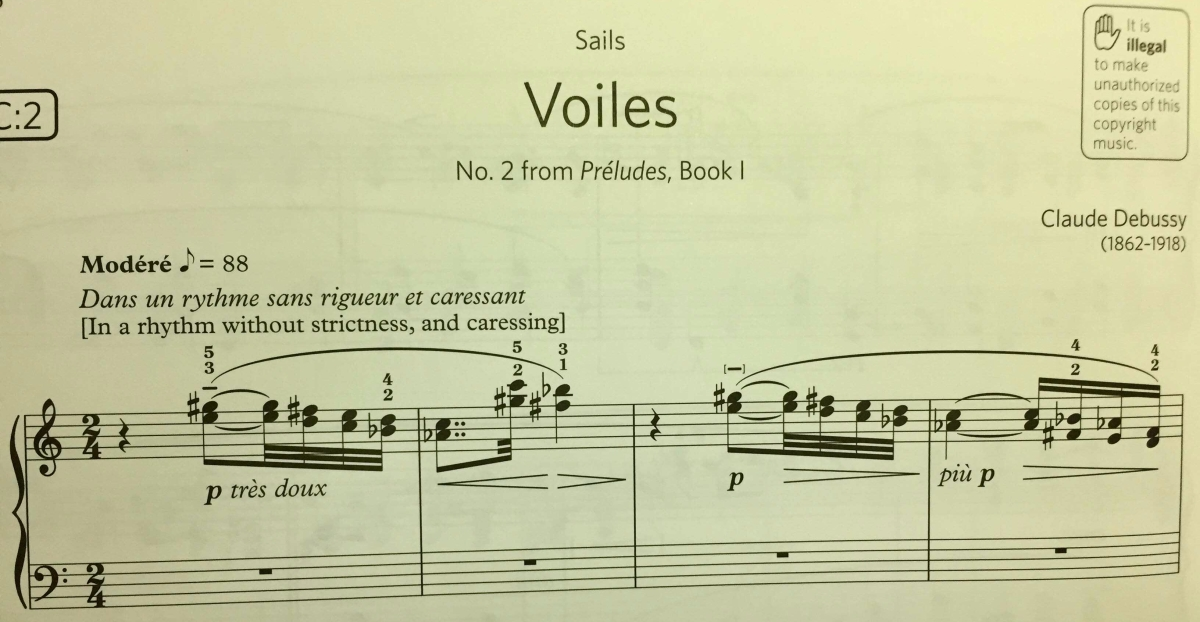 Piano Score - Voiles; Extracted from ABRSM Piano Exam Pieces Grade 8