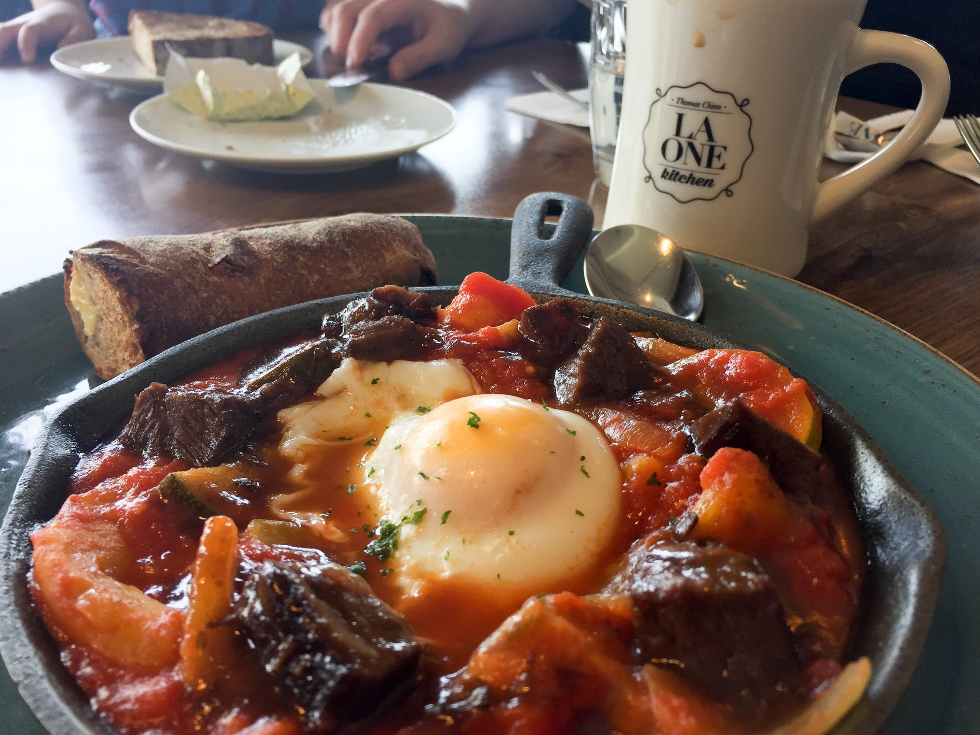 Braised Beef Cheeks with Egg, Vegetables and Bread