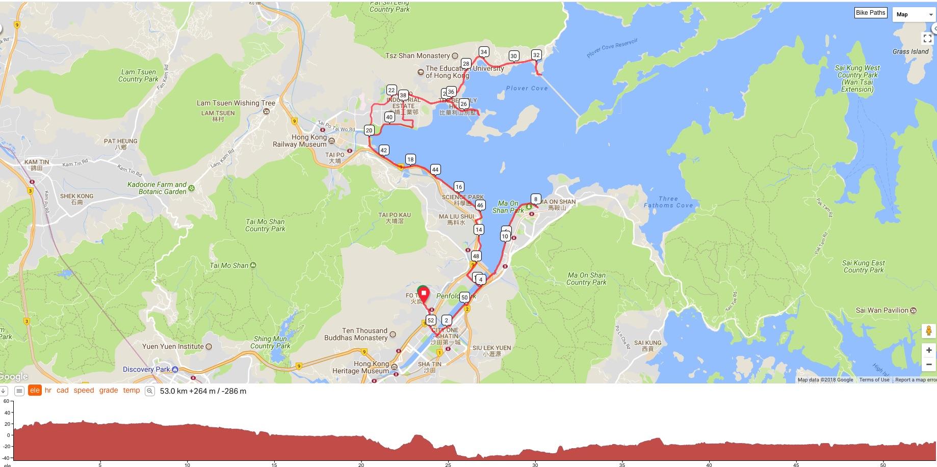 Cycling Route from FoTan to Sam Mun Tsai and Tai Mei Tuk