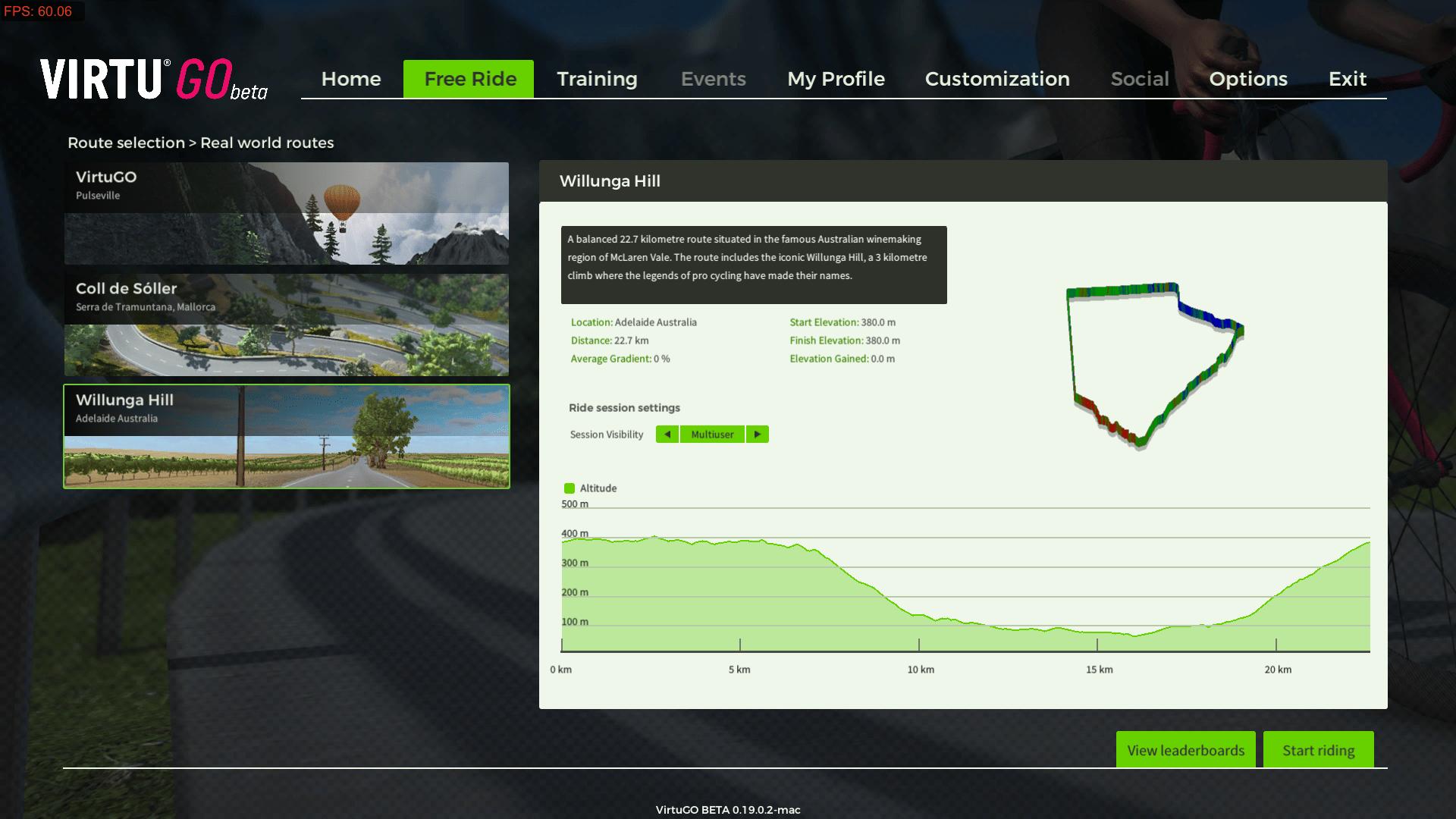 VirtuGO Beta Free Ride Route 3 - Willunga Hill (22.7 Km)