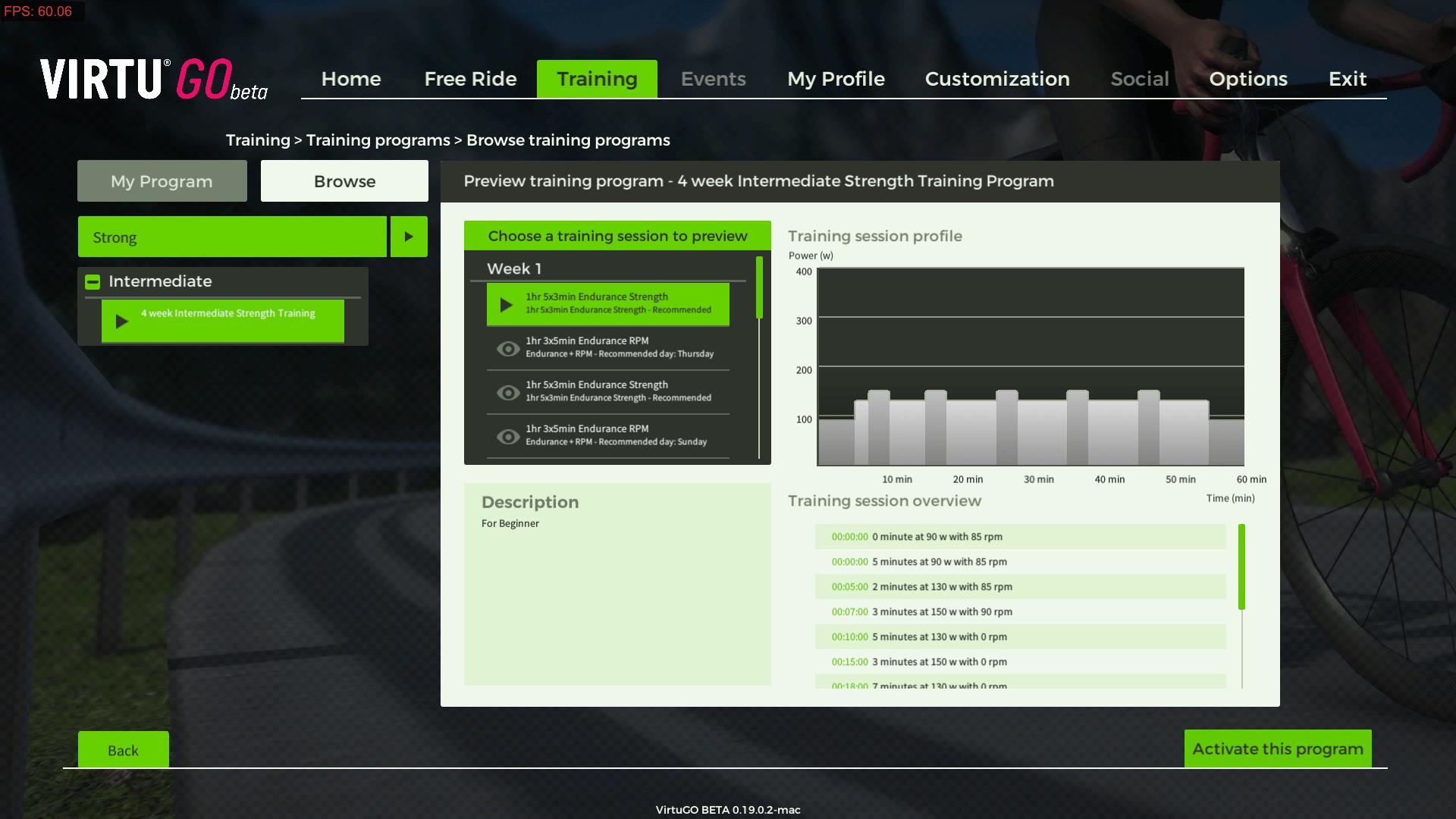 VirtuGO Beta - Built-in My Training Program - For STRONG riders
