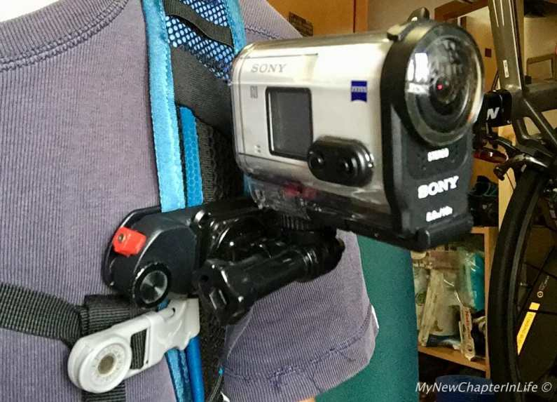 SONY AS200 mounted to Peak Design Capture attached to my backpack