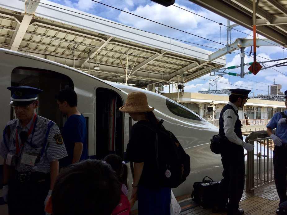 Boarding the Hikari from Shin Osaka Station to Fukuyama Station