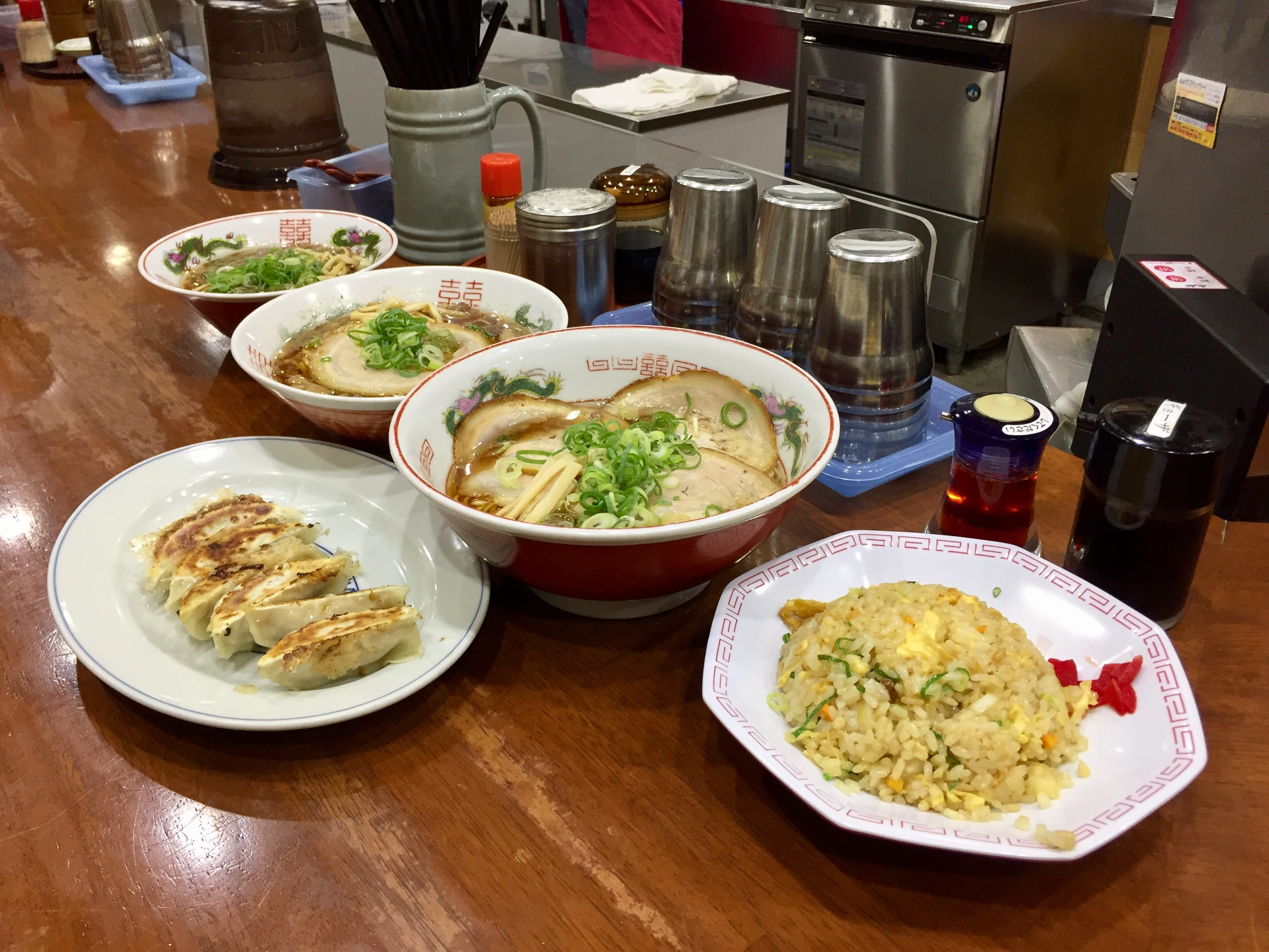 Ramen, dumpling and fried rice for Dinner at Onomichi JR Station