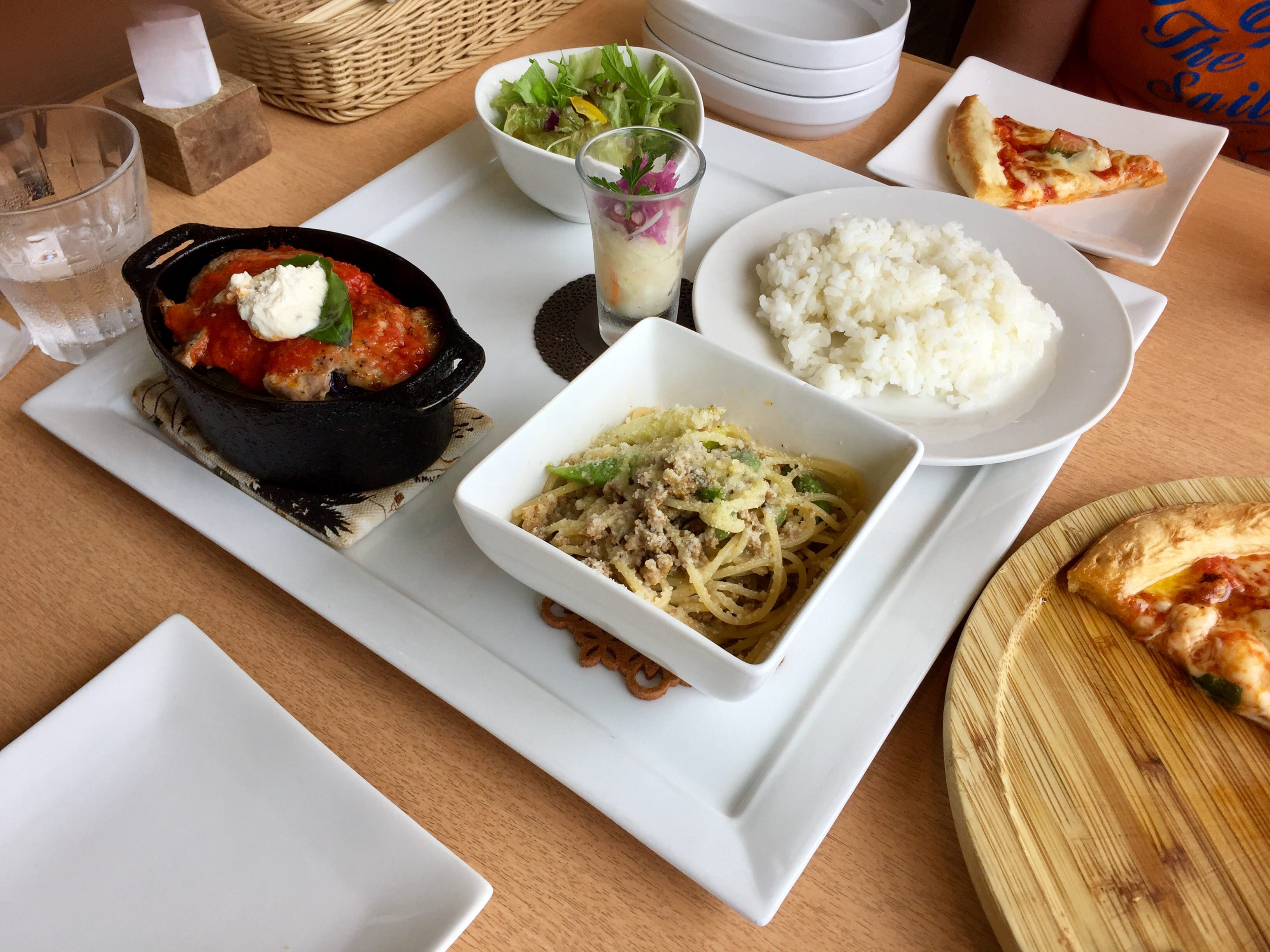 Western style Japanese set lunch with salid, rice and spaghetti