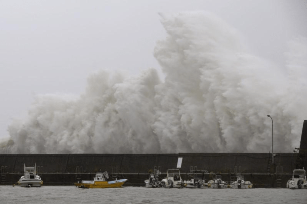 Noru crashed on a breakwater in Aki, Kochi Prefecture. Photo courtesy of Reuter.