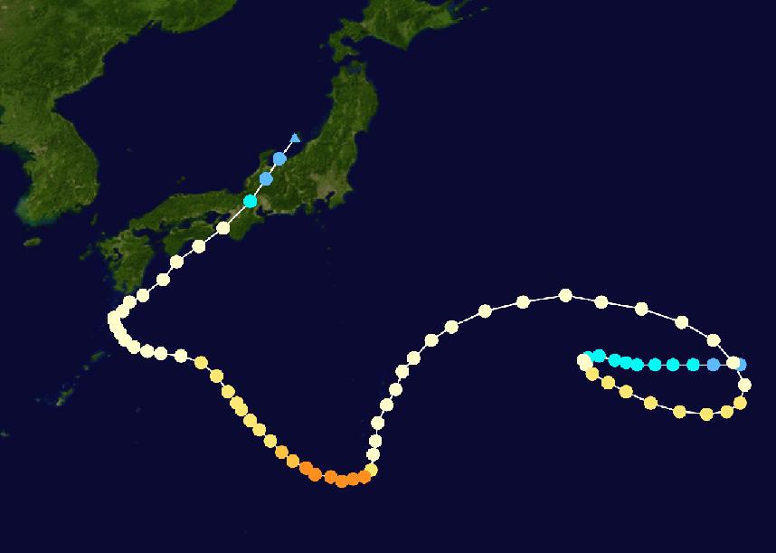 Plotting on the track of typhoon Noru.