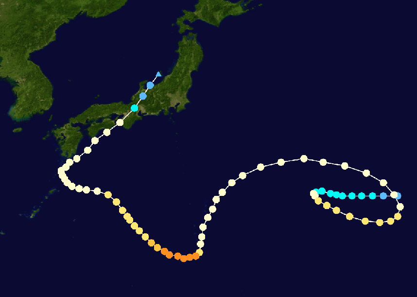 Plotting on the track of typhoon Noru.