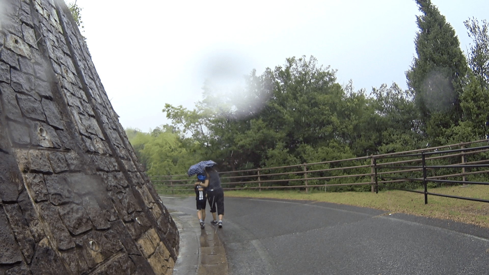 Sudden downpour right after we started the ride