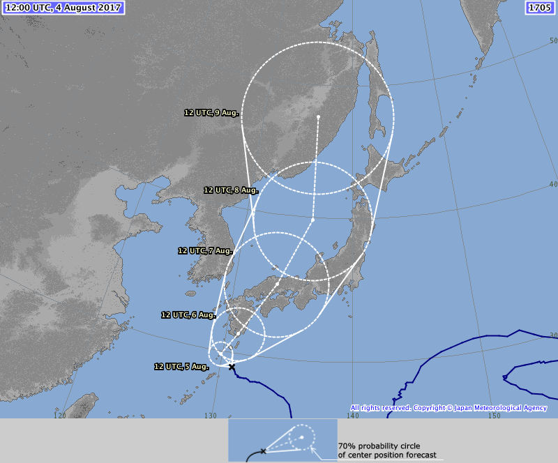 Typhoon Noru (1705) forecast track
