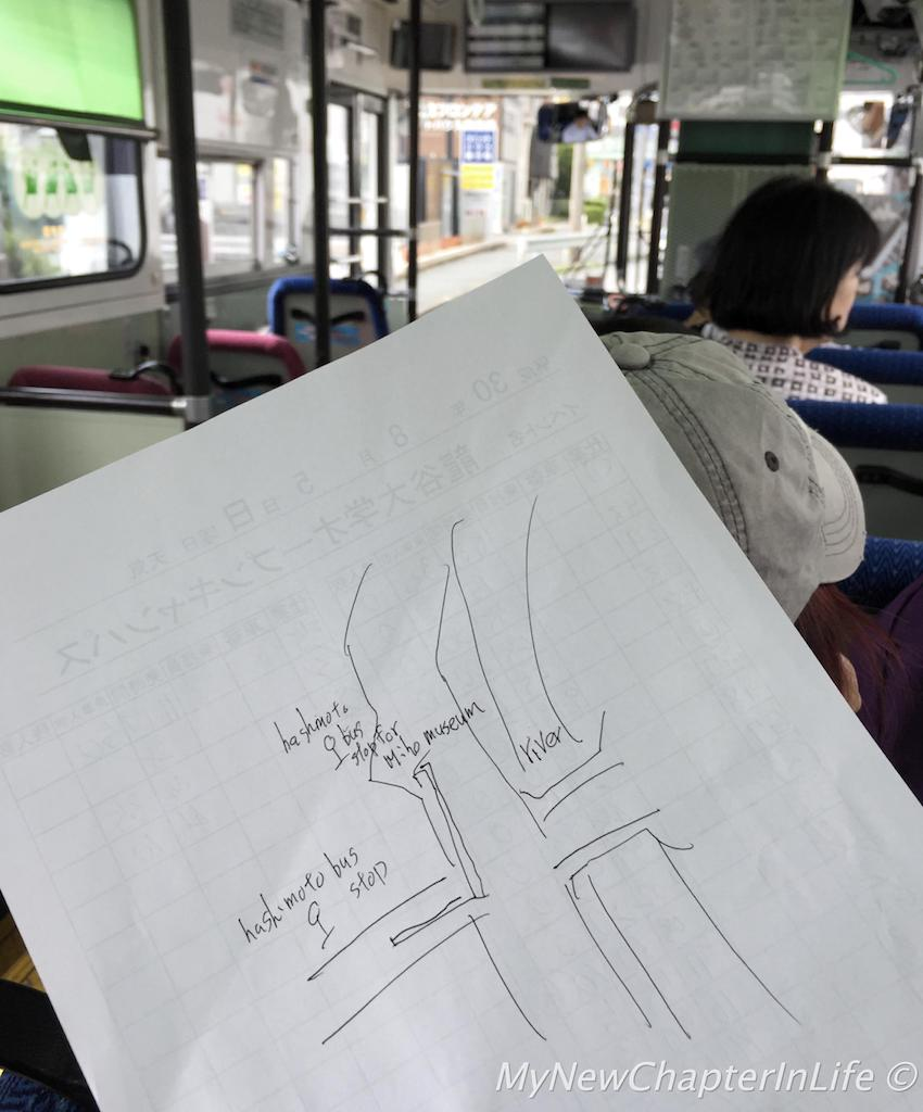 Hand drawing by the staff showing how to change bus for Miho Museum