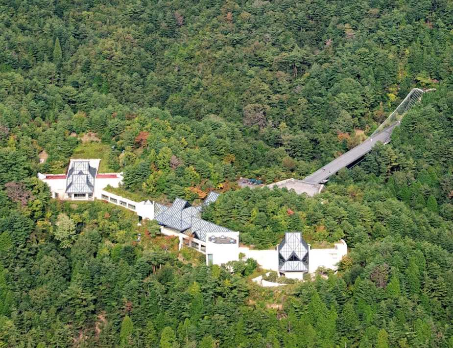 Aerial View of the Museum main building and the suspension bridge