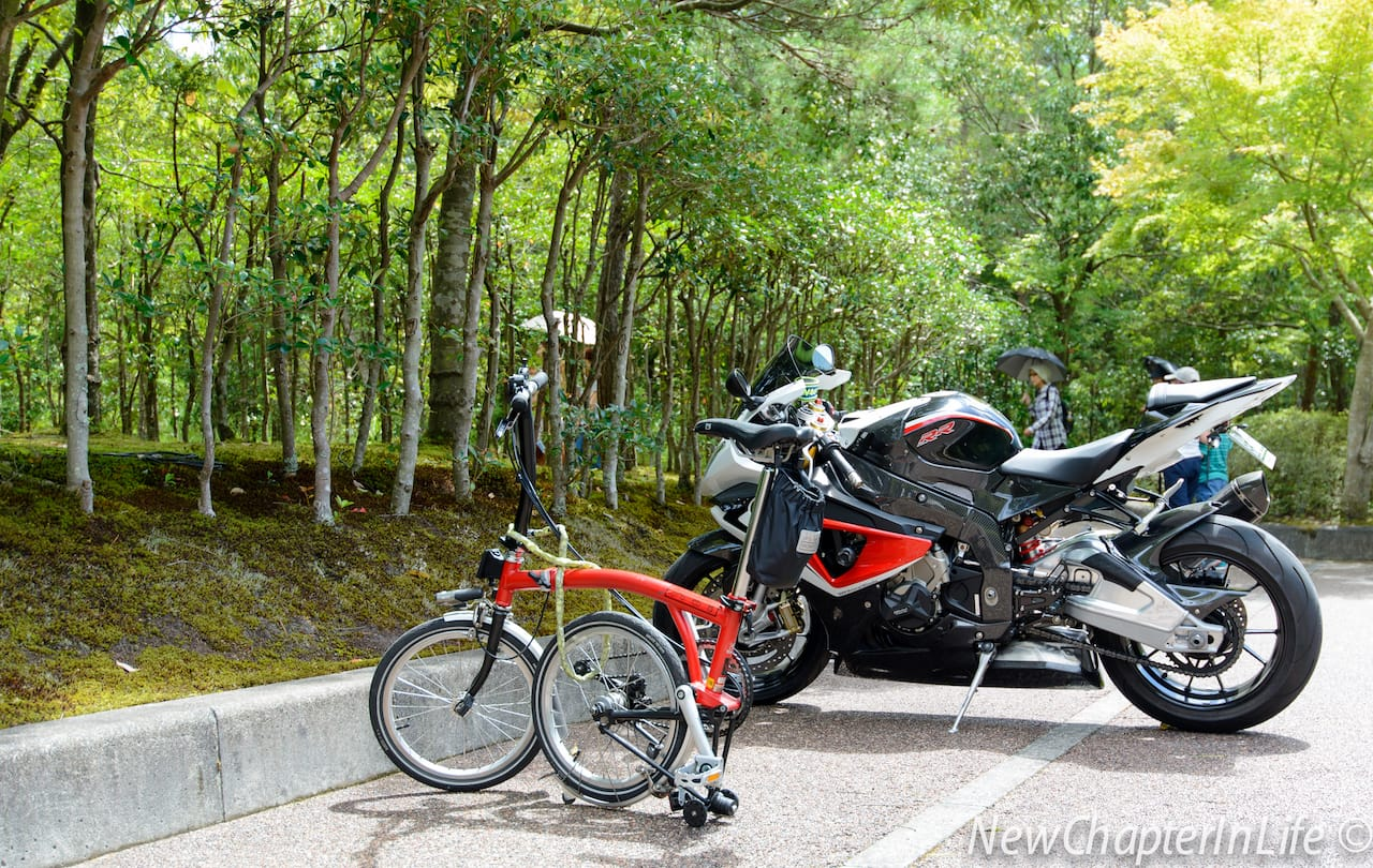 Two types of bikes living in harmony @Miho Museum