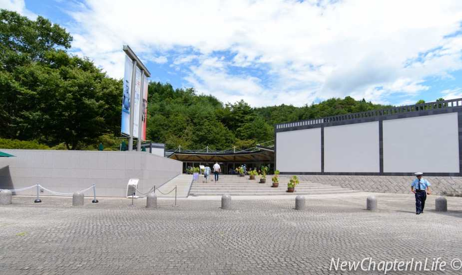 Across the bus stop to the Miho Museum reception pavilion
