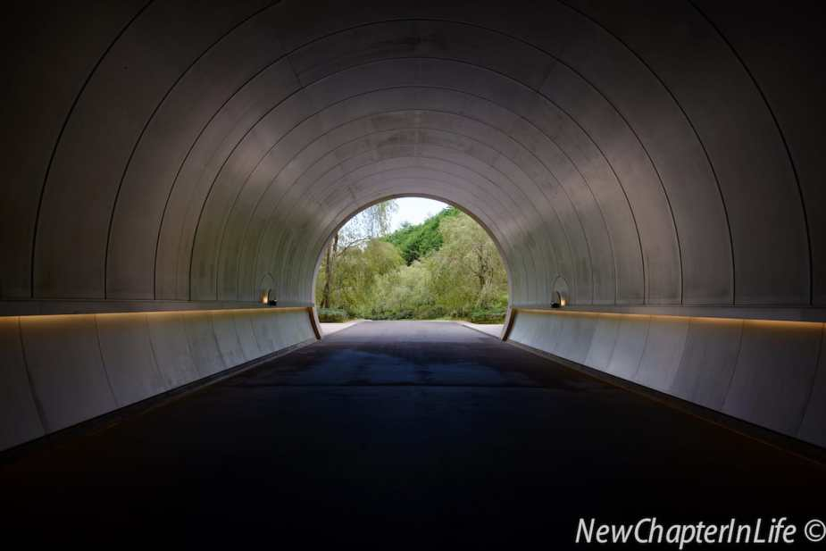 Looking back from the metallic tunnel