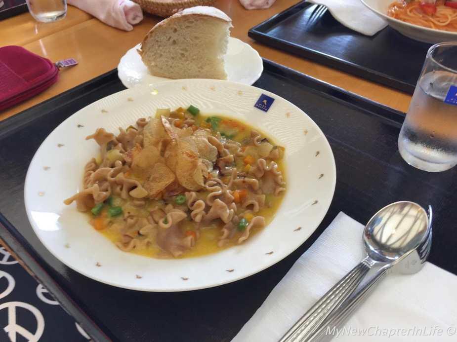 Reginette pasta (emmer & durum) with seasonal vegetables and handmade bread