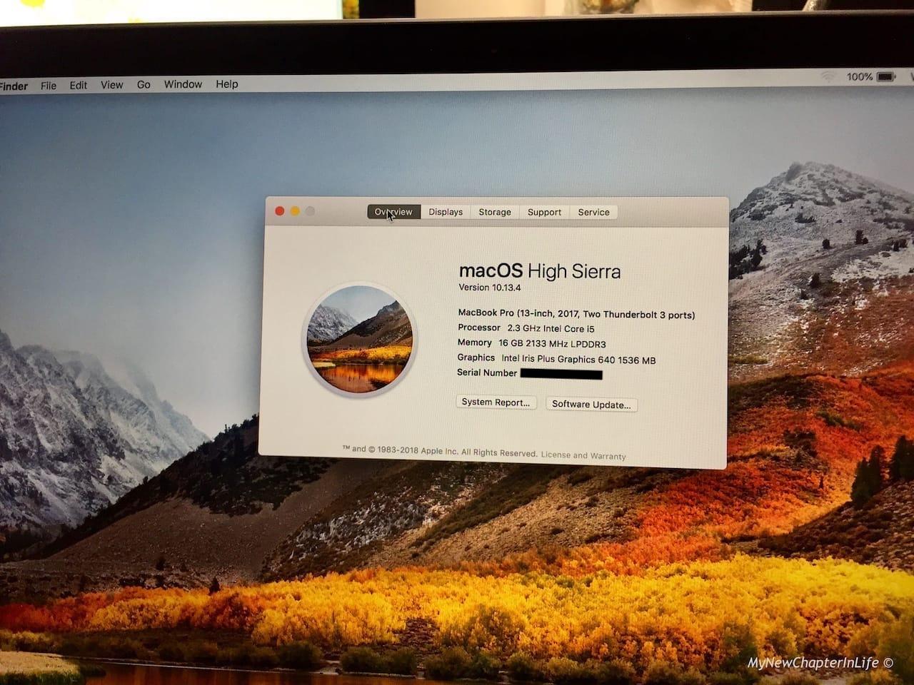 2.3 GHz Core i5 processor; 16 GB Memory