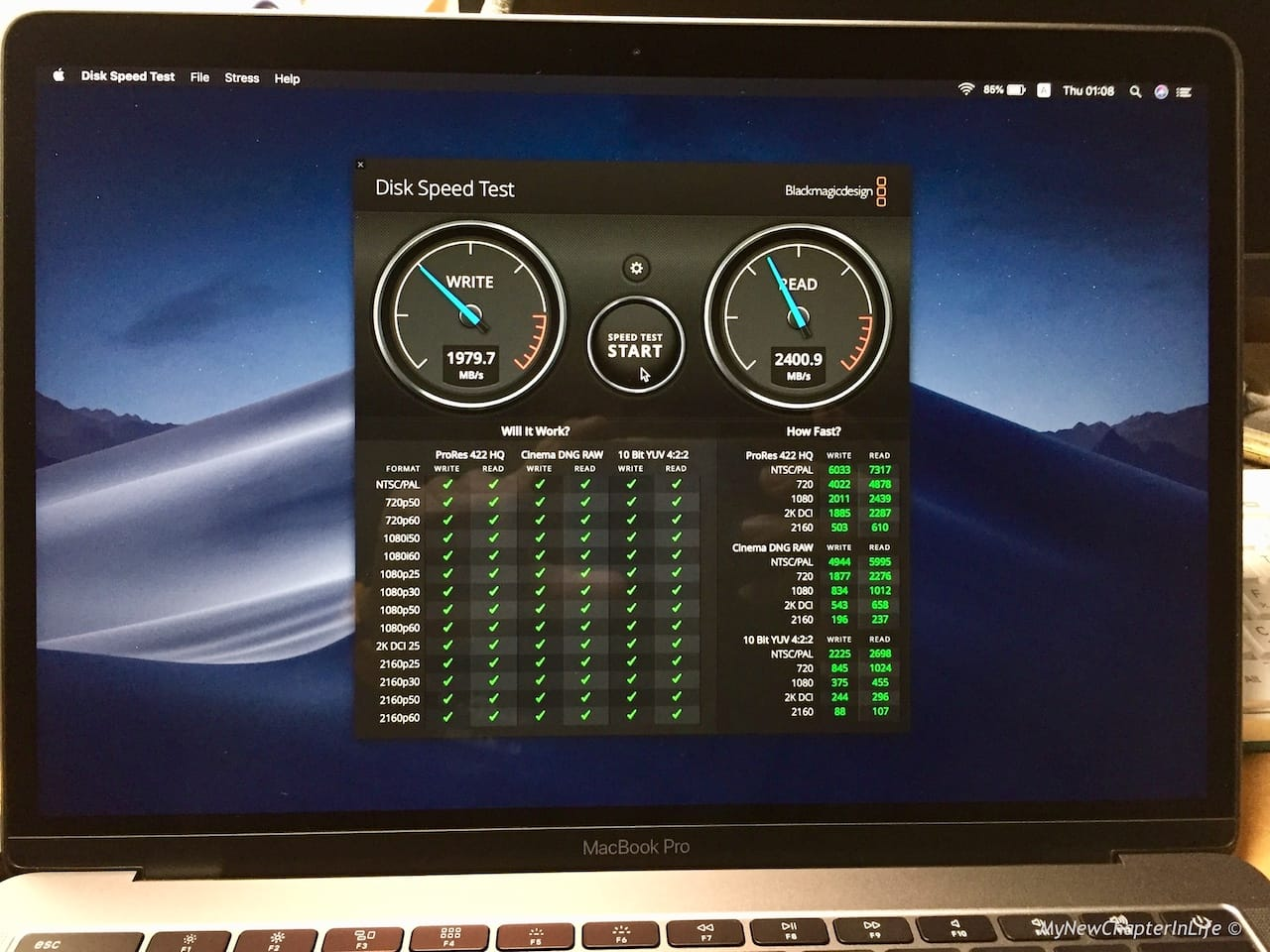 SSD I/O Performance by Blackmagic Disk Speed Test