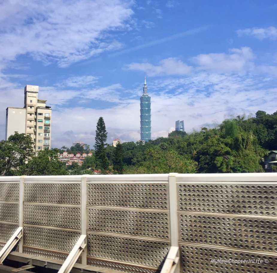 從㨗運文湖線上望向台北101大樓