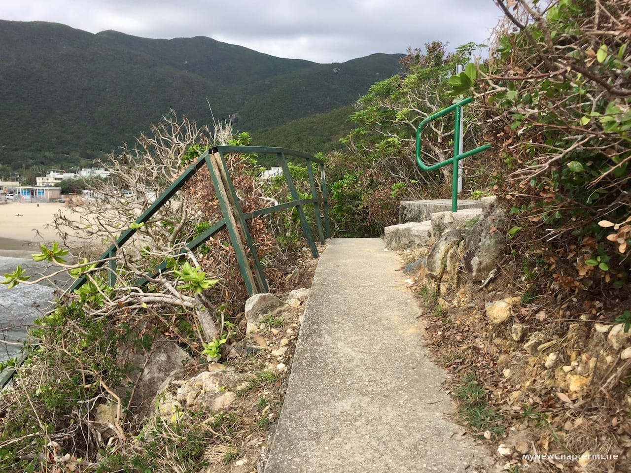 The hand rail along the paved steps to the rock carving were damaged