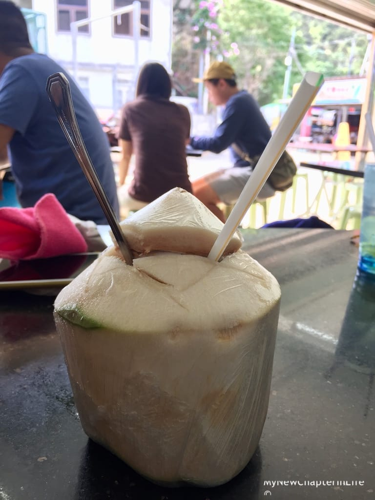 Fresh coconut drink for my wife