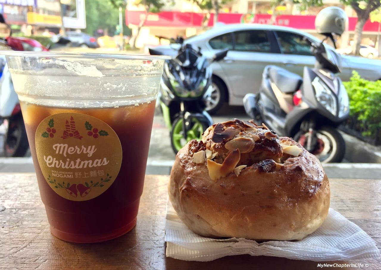 核桃無花菓麵包、野上冰珈琲 French bread with fig and walnut, Nogami Iced Coffee