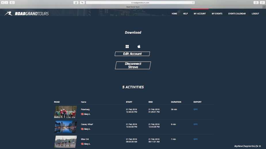 RGT Portal - Personal Account & Activity History